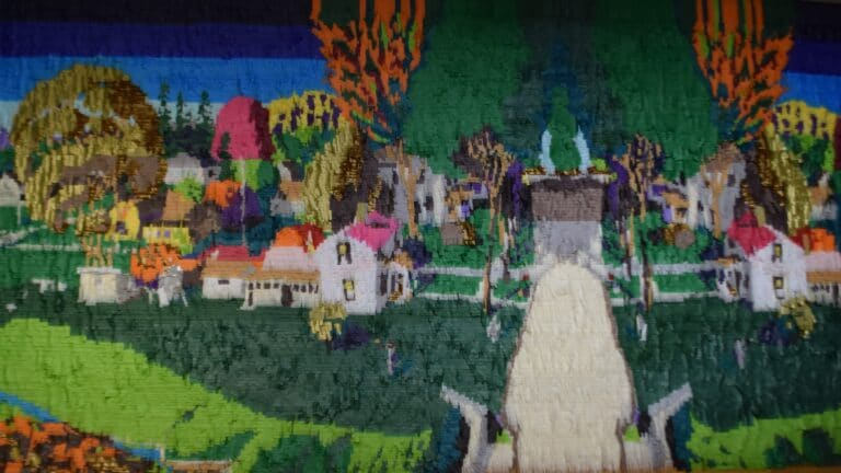 landscape of the birthplace of Herbert Hoover made from tissue paper